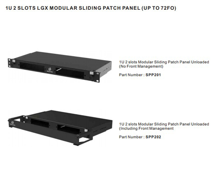 1U 2 Slots LGX Modular Sliding Patch Panel