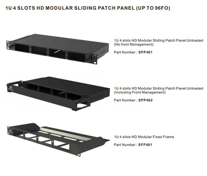 1U 4 Slots HD Modular Sliding Patch Panel